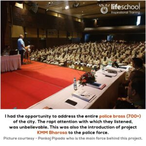 Naren addressing entire police brass pf Pune city for the project KMM  Bharosa